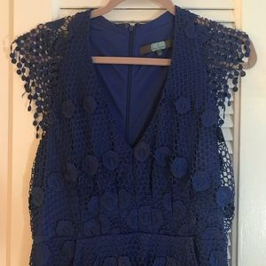 Blue mid length Mermaid Net look Cocktail dress